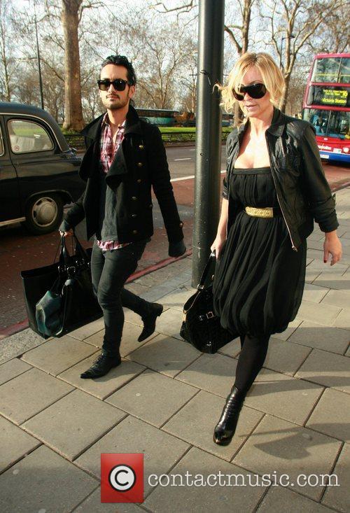 Meg mathews and friend arriving The Dorchester for...