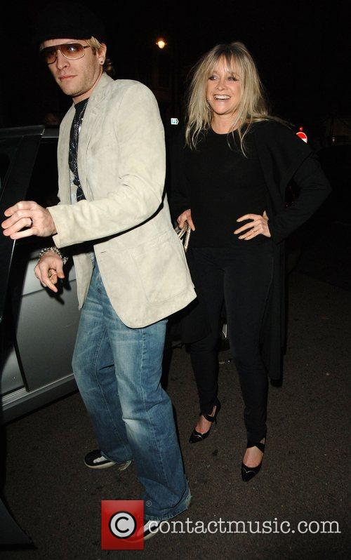 Jo Wood and son arrives to The Dorchester...