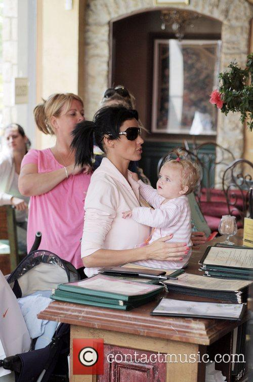 katie price with her daughter princess tiaamii at the grove in west hollywood. they visited victoria's secret 5120925