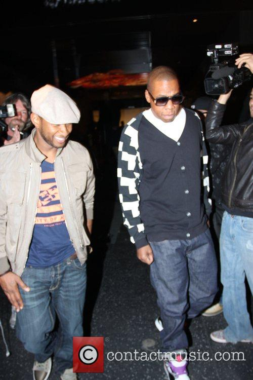 Usher and Jay-Z leaving Katsuya Restaurant in Hollywood together 14