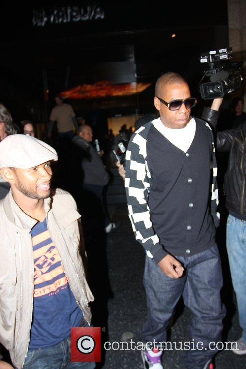 Usher and Jay-Z leaving Katsuya Restaurant in Hollywood together 11