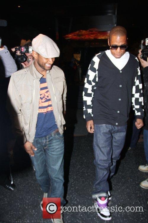 Usher, Jay-Z leaving Katsuya Restaurant in Hollywood together