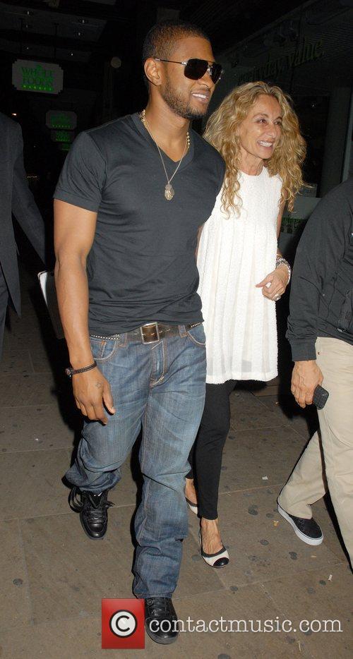 Usher and Mark Ronson's Mother, Ann Dexter-Jones leaving...
