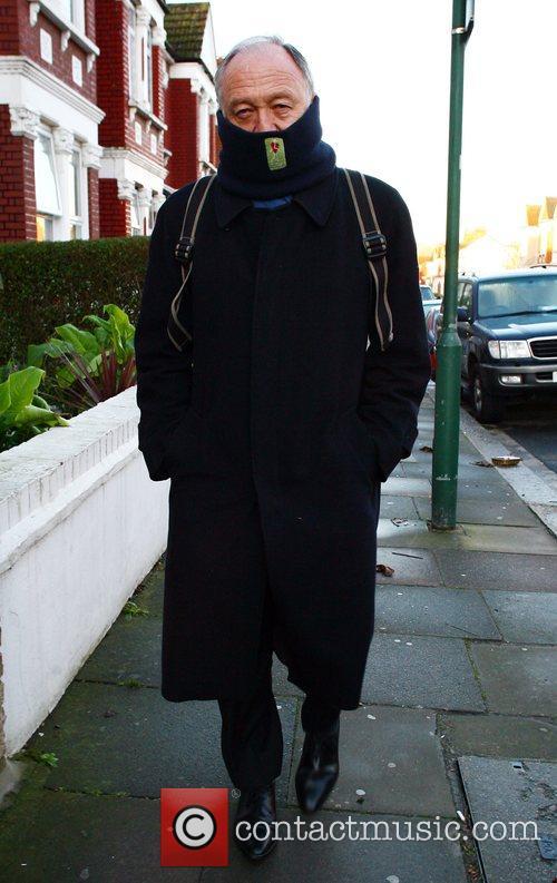 Mayor of London, Ken Livingstone wrapped up warm...