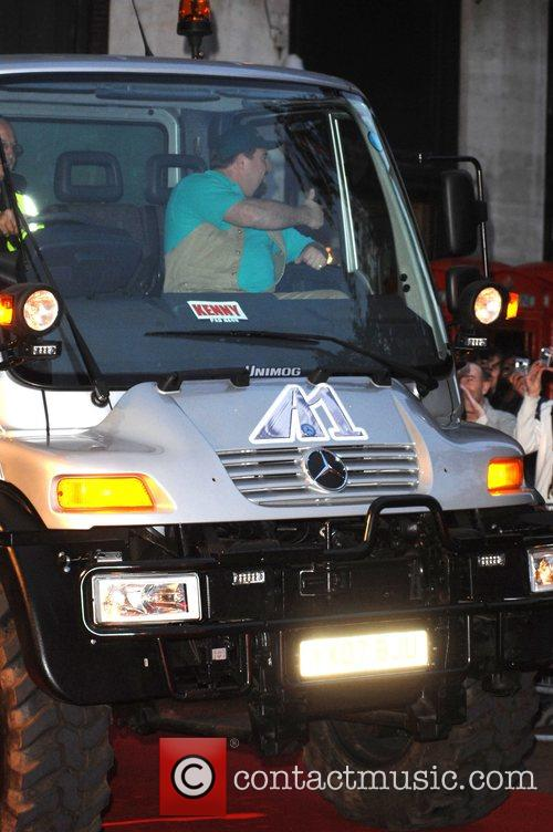 Shane Jacobson arrives in a sewage truck 'Kenny'...