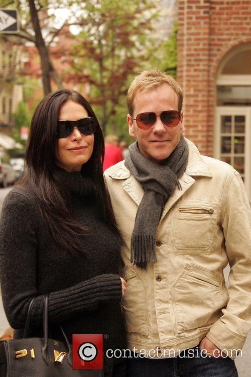 Kiefer Sutherland going for a walk with his...