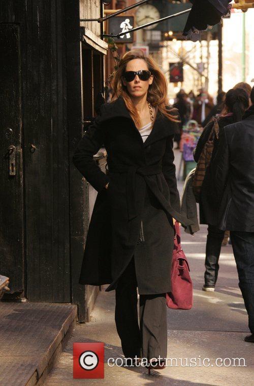 Kim Raver walking around the streets of New...