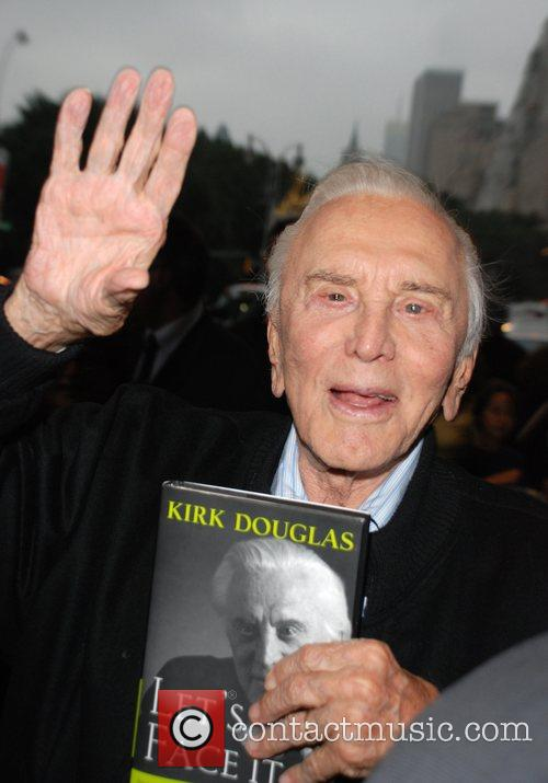 Kirk Douglas signing his new book 'Let's Face...