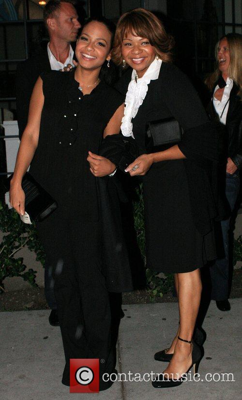 Christina Milian with her mother at Koi Restaurant...