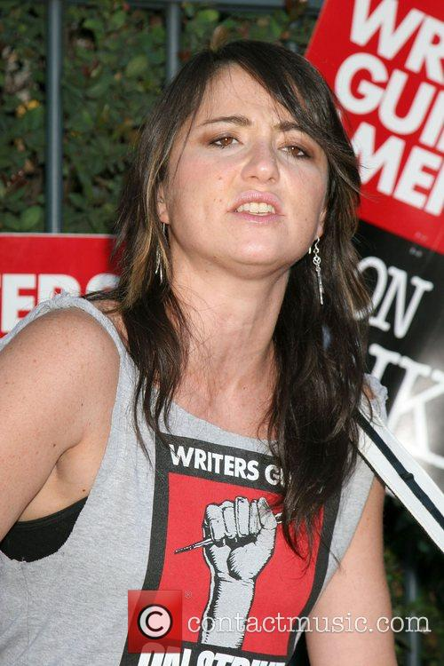 K.T. Tunstall performs on the picket line to...