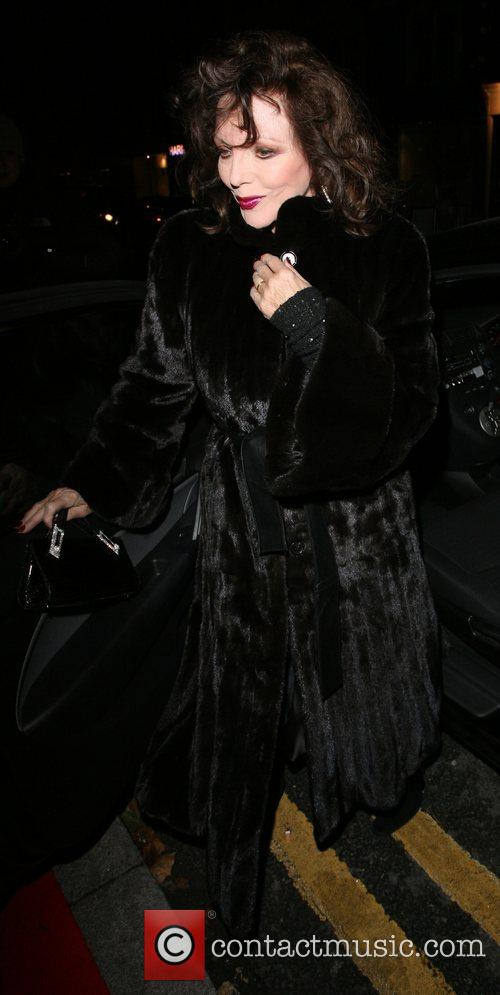 Joan Collins leaving the relaunch party of La...