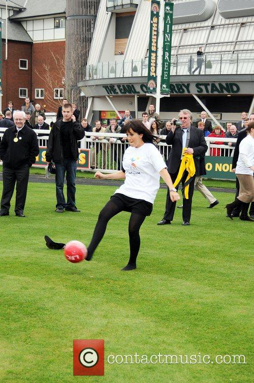 Sheree Murphy taking part in the Jockeys penalty...