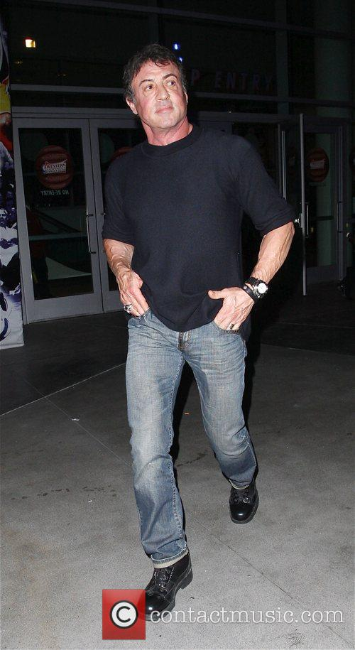 Sylvester Stallone Leaving the Staples Center after watching...