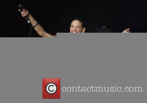 Natalia Jimenez of La Quinta Estacion performing at...