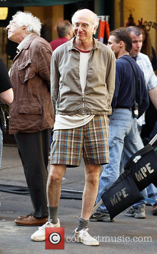 Woody Allen and Larry David  on set...