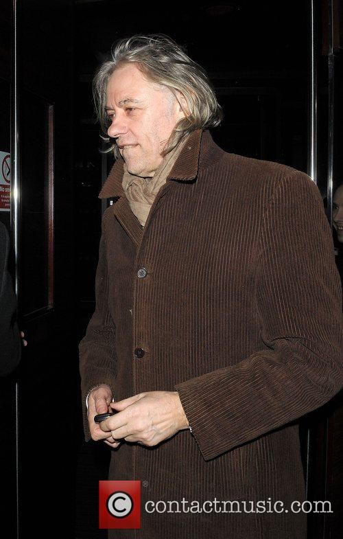 Bob Geldof leaving L'Atelier restaurant London, England