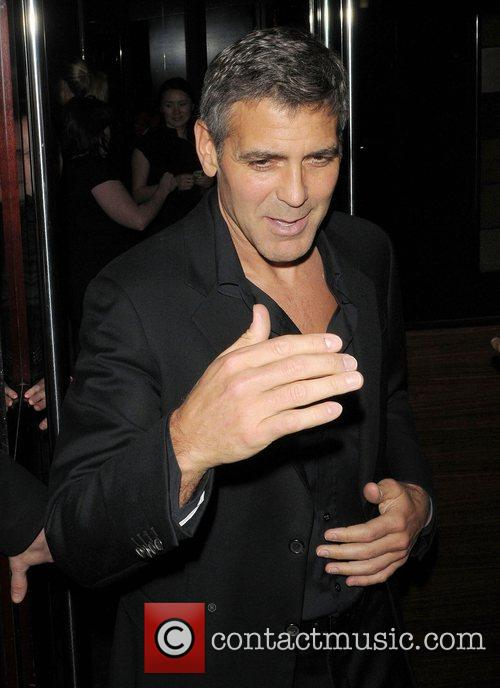 George Clooney leaving L'Atelier restaurant London, England