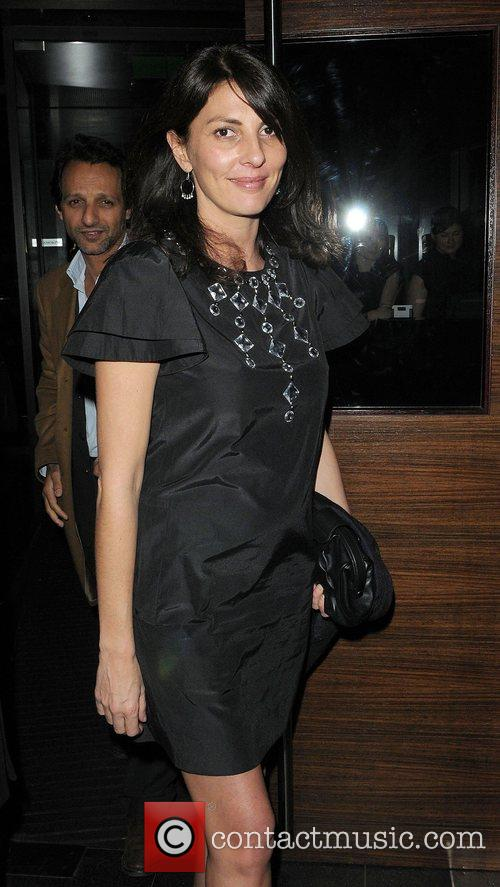 Gina Bellman leaving L'Atelier restaurant London, England