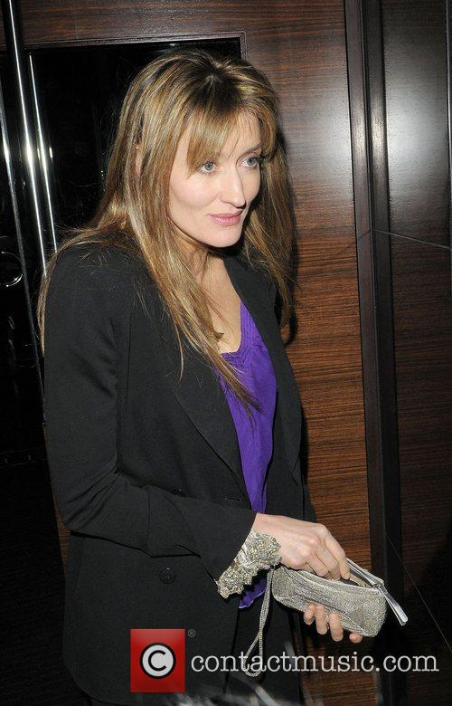 Natasha McElhone leaving L'Atelier restaurant London, England