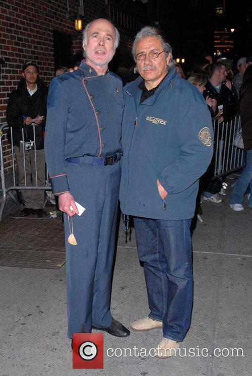 Michael Hogan, David Letterman, Edward James Olmos and Ed Sullivan Theatre 1