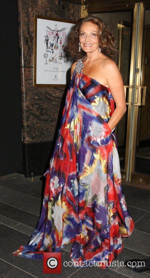 Diane von Furstenberg departing her hotel and heading...