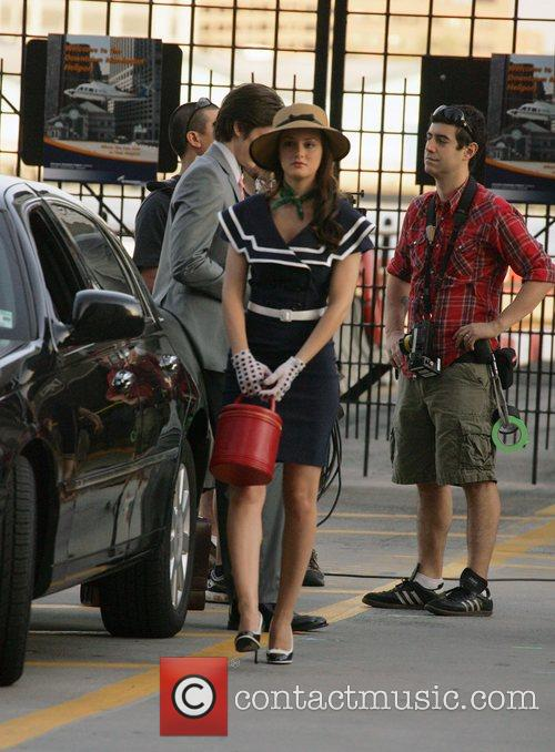 Leighton Meester on the set of her show...