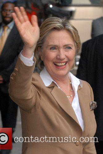 Sen. Hillary Clinton outside Ed Sullivan Theatre for...