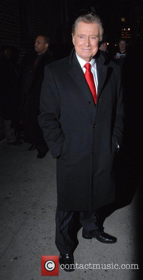 Regis Philbin outside Ed Sullivan Theatre for the...