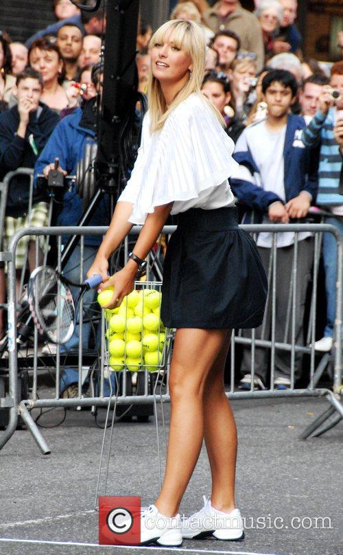 Maria Sharapova taping a segment for 'Late Show...