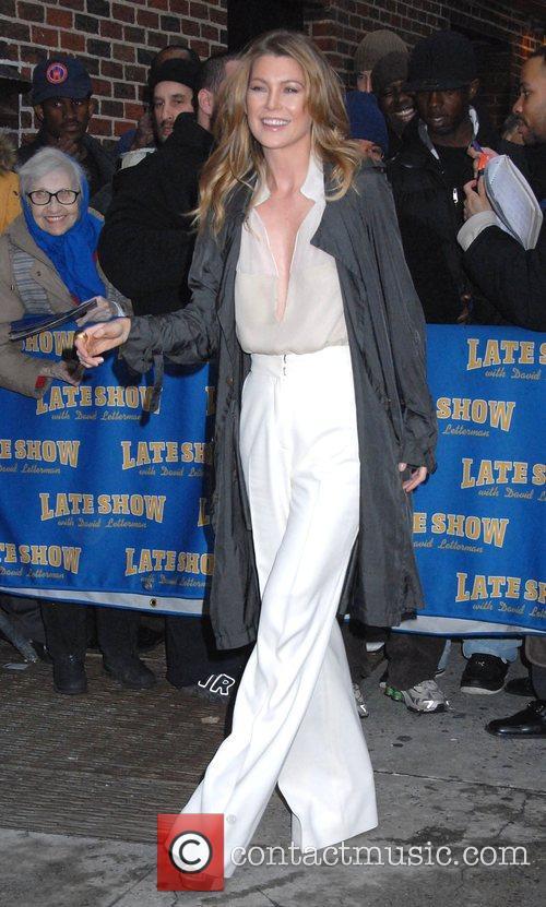 Ellen Pompeo outside Ed Sullivan Theatre for the...
