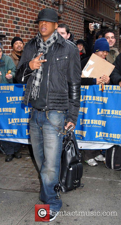 Jay-Z outside Ed Sullivan Theatre for the 'Late...
