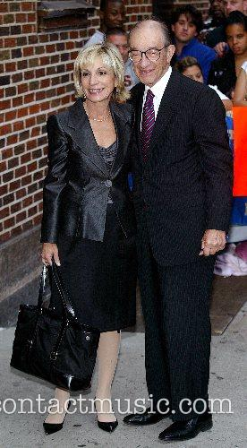 Andrea Mitchell and Alan Greenspan outside Ed Sullivan...