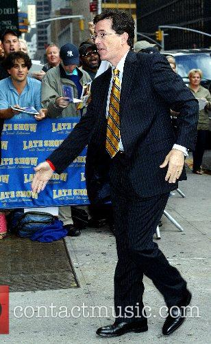 Stephen Colbert outside Ed Sullivan Theatre for the...