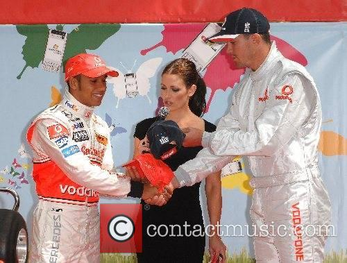 Kevin Pietersen, Kirsty Gallacher and Lewis Hamilton Lewis...
