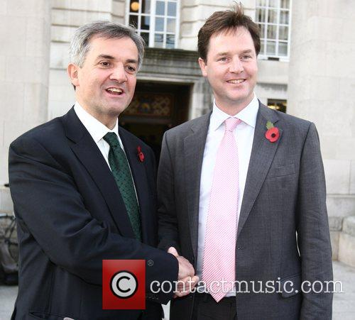 Chris Huhne and Nick Clegg attend the Liberal...