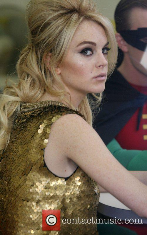 Lindsay Lohan filming a commercial in which Lohan...