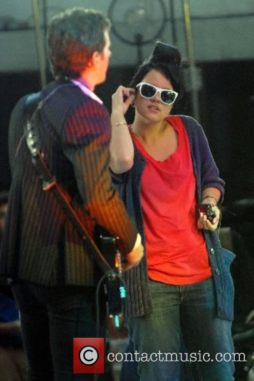 Lily Allen at a sound check before her...