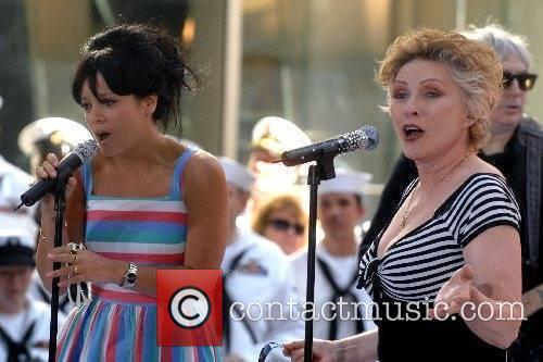 Deborah Harry of Blondie and Lily Allen perform...