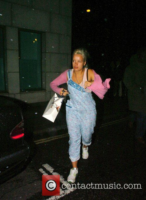 Lily Allen leaving Nobu restaurant after recently returning...