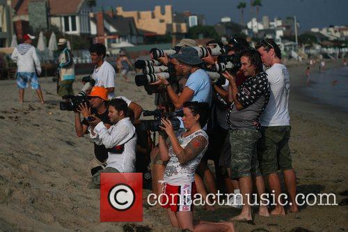 Lindsay Lohan at a beach party