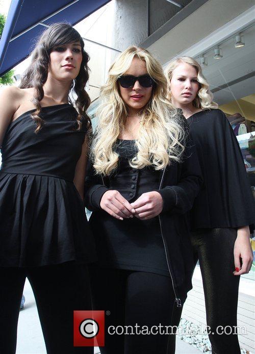 Lindsay Lohan promoting her line of leggings on...