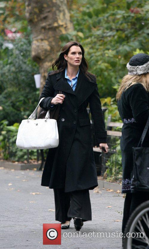 Brooke Shields filming scenes for her new TV...