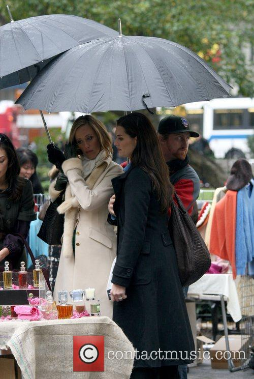 Kim Raver and Brooke Shields filming scenes for...