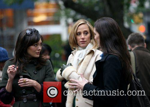 Lindsay Price, Kim Raver and Brooke Shields filming...