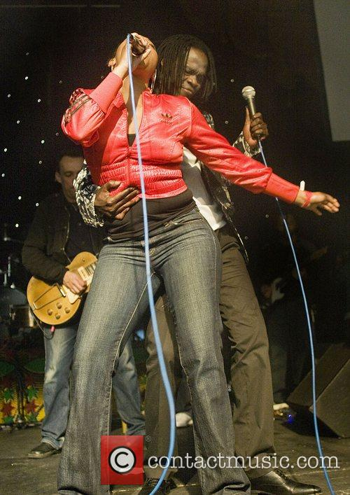 Preforming with Africa Express at Liverpool Olympia