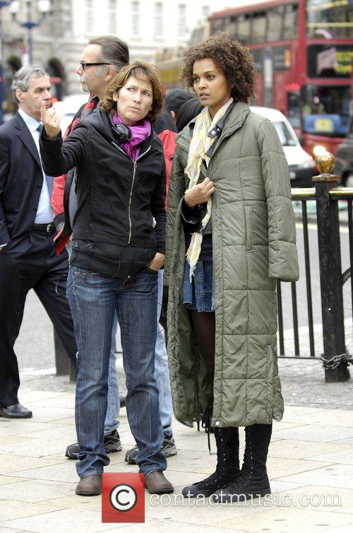 Liya Kebede at a photoshoot for Estee Lauder...