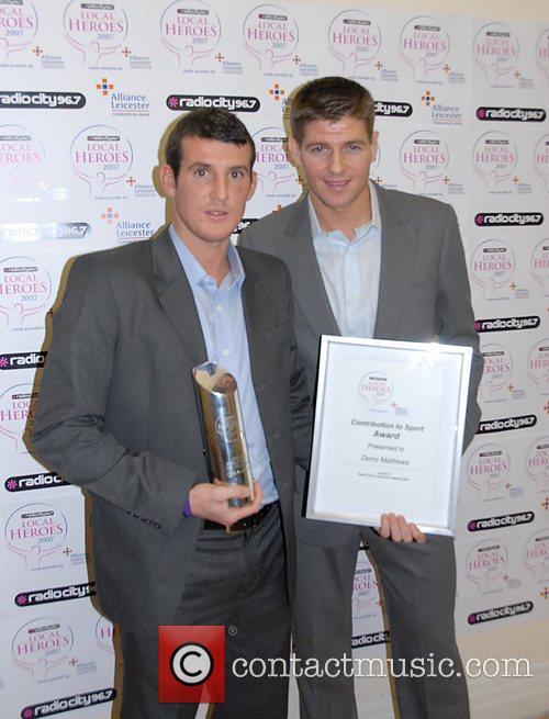 Steven Gerrard presenting Local Hero Contribution to Sport...