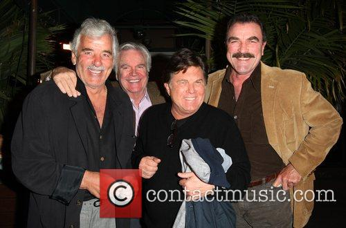 Dennis Farina, guest, guest, Tom Selleck leaving Madeo...
