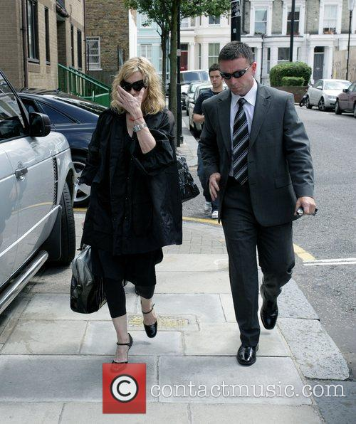 Madonna arriving at a London recording studio where...