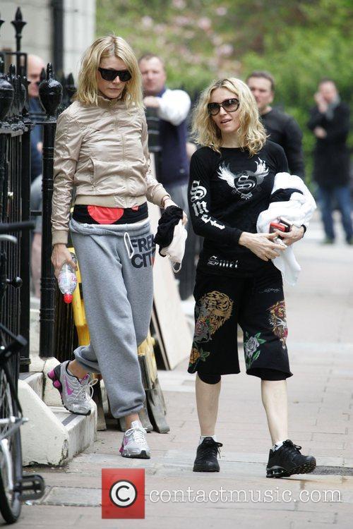 Gwyneth Paltrow and Madonna leaving their gym London,...